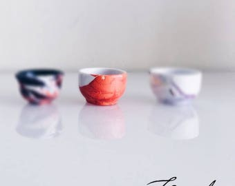 Modern Ceramic Mini Bowl (Orange Flow)