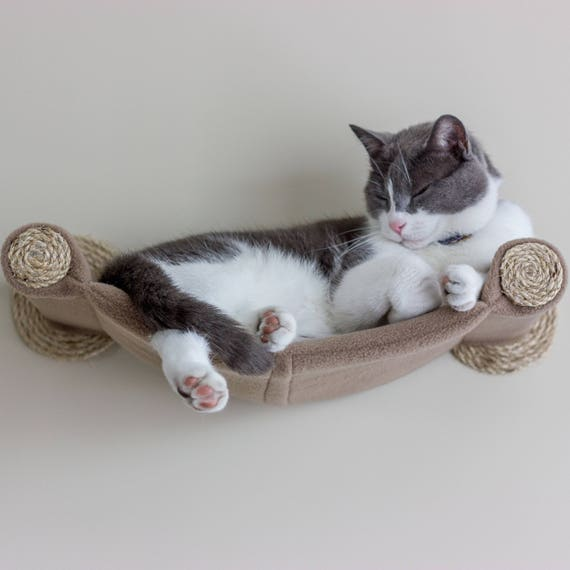 like this item  cat hammock wall mounted cat shelf beige  rh   etsy