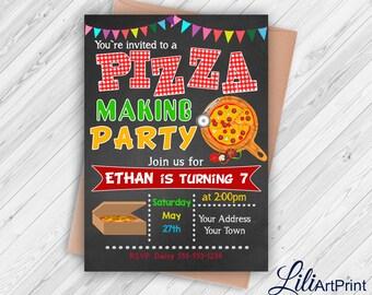 Pizza Party birthday invitation, pizza invite, pizza party birthday party, Digital file(18)