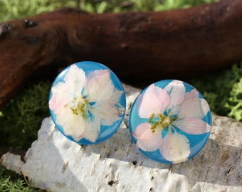 Real flower earrings, Resin flower earrings, Shimmering blue stud earrings, Botanical Jewelry, Botanical resin earrings, Gift for her