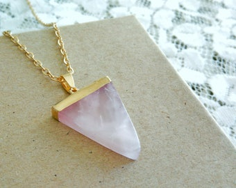 Rose Quartz Triangle Necklace, Rose Quartz Crystal Necklace, Pink Gemstone Necklace, Triangle Quartz Necklace, Quartz Crystal Necklace