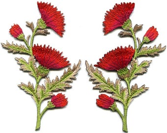 Red orange carnation spray pair flowers floral applique iron-on patches