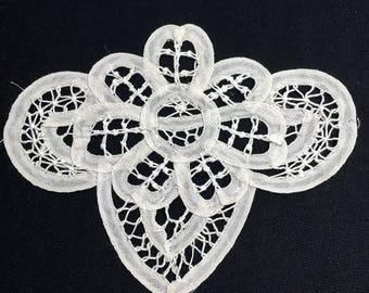 Vintage Battenburg lace applique