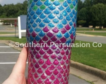 Perfect for the Pool!! Glitter Mermaid Tumbler