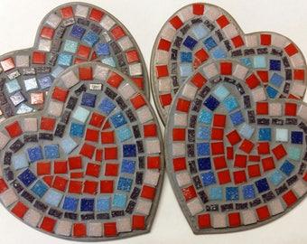 Heart mosaic coasters