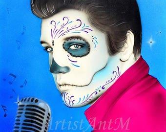 "Day of the Dead Elvis Presley   8""x 10"" High Quality Digital Print"