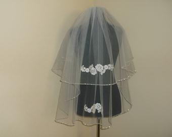 Ivory 2 tier Silver Beaded Rhinestone Wedding Veil