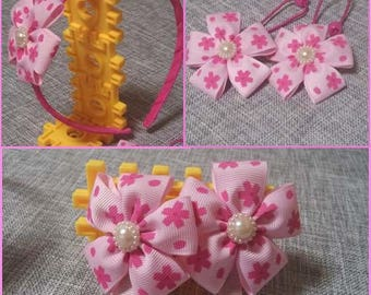 Pink Flower Girl Children Hairband Hair clip Hair Elastics Set