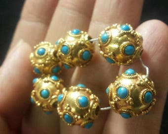 Impressive Egyptian Design Untreated Natural Turquoise Solid 22K Gold Bead 8mm