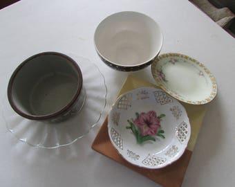 Set of mismatched dishes