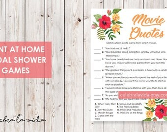 Movie Quotes Bridal Shower Game. Instant Download. Printable Bridal Shower Game. Yellow Flowers. Red and Orange. - 02