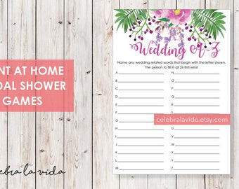 Wedding A-Z Bridal Shower Game. Instant Download. Printable Bridal Shower Game. Pink and Purple Flowers. - 03