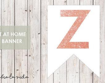 DIY Banner - 'Z'. Instant Download. Printable Banner Letters. Pink Glitter. - 01