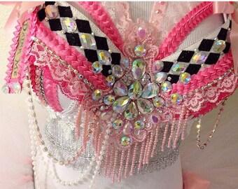 Pink Alice in Wonderland Rave Bra {READY TO SHIP 34B}