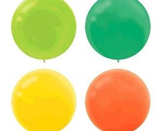 60cm Jumbo Latex Balloons Green Yellow Orange Black White