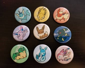 "Eeveelutions Pokemon Buttons 1.25"" - Eevee, vaporeon, jolteon, flareon, espeon, umbreon, leafeon, glaceon, sylveon"