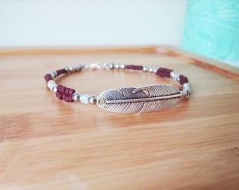 Boho bracelet, boho jewelry, bohemian style jewelry, layering bracelet, boho jewellery, beaded jewelry, silver feather charm, seed bead