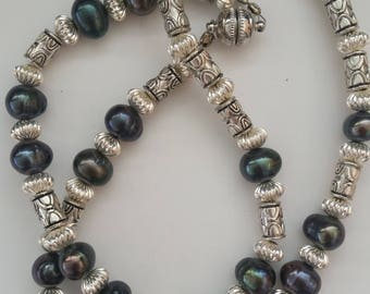 Black Pearl and Silver Necklace / Freshwater Black Pearls / Magnet / Turquoise Jewelry