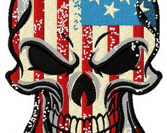 American skull machine embroidery design - INSTANT DOWNLOAD