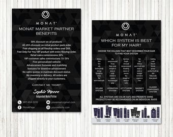 PERSONALIZED Monat Market Partner Benefits, Monat Systems, Custom Monat Hair Care Card, Fast Free Personalization, Monat Business Cards MN09