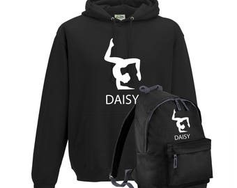 iLeisure Girls Personalised Three Pointed Pose with Name Gymnastics/Dancers Hoody and Gym Bag Bundle