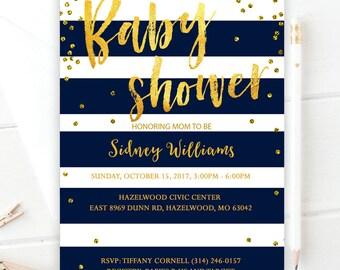 Navy blue baby shower invitation| Baby shower invitation| Striped baby shower invitation| Navy baby shower invitation