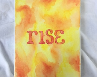 Rise - Orange and Yellow Original Watercolor Painting