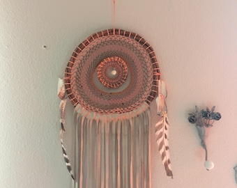 Authentic Mayan Made Pink Leather Dream Catcher