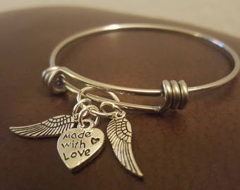 Made with Love with Angel wings- bangle
