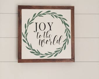 JOY to the World with Wreath wood sign