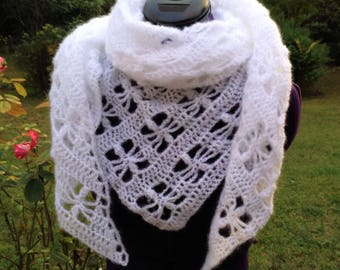 """White as snow"" shawl, handmade crochet"