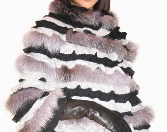Silver Fox Fur Coat/Luxury gift/Silver Fox Fur jacket