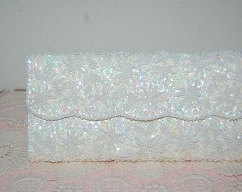 Clutch purse, creme, beads, pearls, satin, handbag, purse, evening bag, formal, sequins, shell