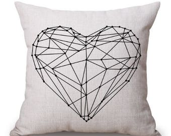 Geometric Heart Pillow Cover