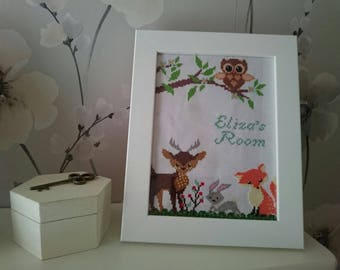 Personalised child/babies room cross stitch woodland scene