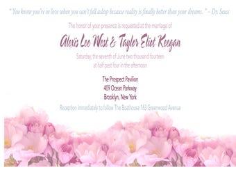 Floral Pink Printable Wedding Invitation Design