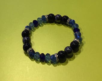 Smoke/Black Royal Blue Crystal Bracelet