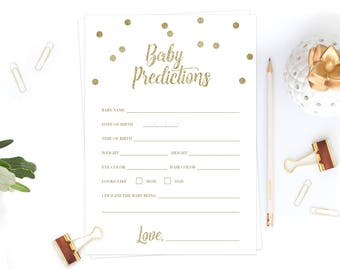 Baby Prediction Cards Baby Shower Prediction Cards Printables Confetti Baby Shower Games Gold Glitter Baby Shower Gender Neutral Shower GCO