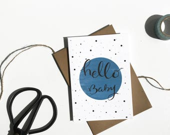Hello Baby card -Blue baby card - Baby boy card - New baby card - Congratulations baby card - Christening card - Naming day card