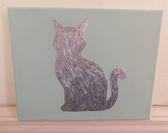 sea glass with sitting cat