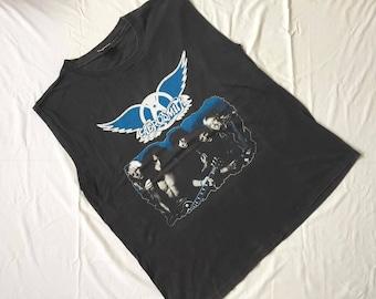 Free Ship AEROSMITH vintage concert tour rare original rock-n-roll t-shirt