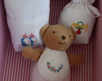 Teddy bear baby with embroidery to cross