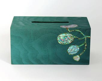 Wooden Tissue box Cover Mother-of-pearl Inlay, green, unique handcrafted tissue box