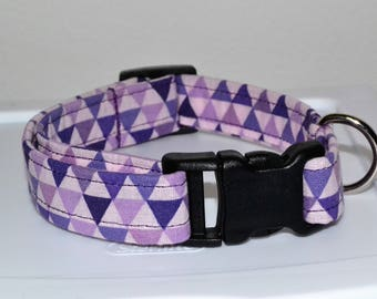 Purple Pyramid / Triangles  Dog Collar adjustable fabric buckle collar or martingale cat collar