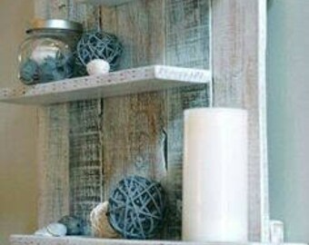 Rustic reclaimed wood wall shelf