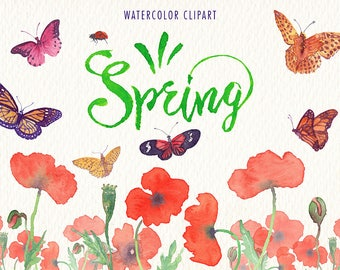 Watercolor Spring png clipart. predesigned watercolor images. Ideal for, printable, cards, posters, stickers, web and much more
