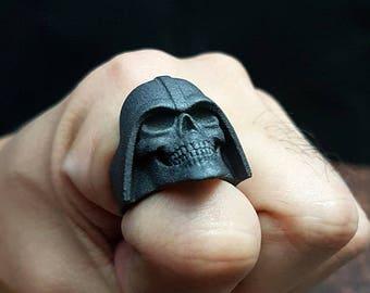Skull Vader Ring / matte black steel