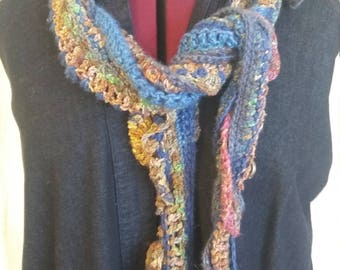 Handmade silk and wool scarf, freeform crochet, bohemian, rustic, recycled materials