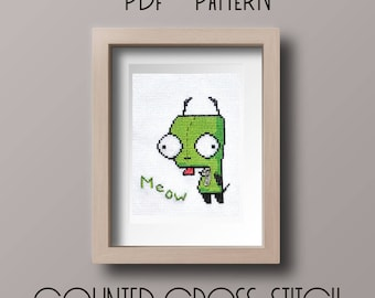 GIR Invader Zim Counted Cross Stitch Pattern PDF Instand Download
