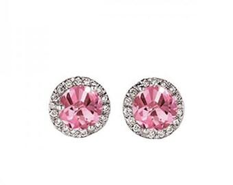 Pink Sapphire 14k White Gold Halo Stud Earrings